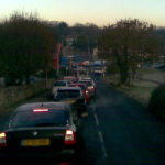 Oreston and Pomphlett roundabout rush hour traffic.