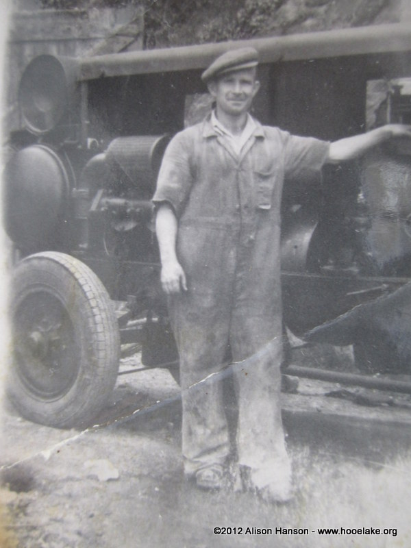 Caleb Jnr. with some kind of turbine or generator which he was in charge of operating. I guess this is late 1940s or 50s.
